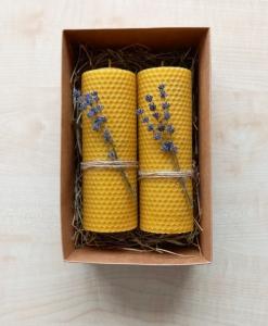 Bičių vaško žvakės su levandomis